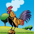 Rooster Cockerel Crowing Retro by patrimonio