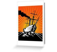 Sailing Ship Retro Woodcut Greeting Card