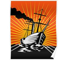 Sailing Ship Retro Woodcut Poster