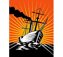 Sailing Ship Retro Woodcut Photographic Print