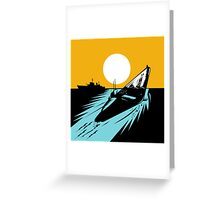 Submarine Boat Retro Greeting Card