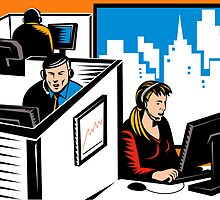 Telemarketer Office Worker Retro by patrimonio