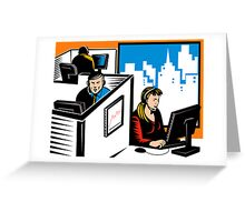 Telemarketer Office Worker Retro Greeting Card