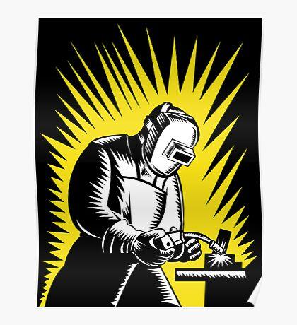 Welder Metal Worker Welding Retro Poster