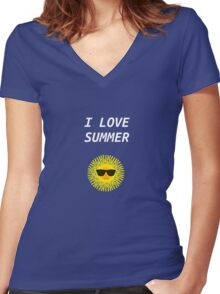I LOVE SUMMER Women's Fitted V-Neck T-Shirt