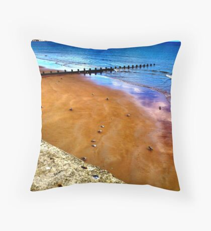 Bridlington beach Throw Pillow