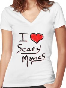 i love halloween scary movies  Women's Fitted V-Neck T-Shirt