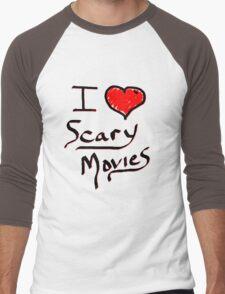 i love halloween scary movies  Men's Baseball ¾ T-Shirt