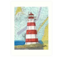 Brier Island Lighthouse NS Canada Nautical Map Cathy Peek Art Print