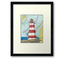 Brier Island Lighthouse NS Canada Nautical Map Cathy Peek Framed Print
