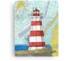 Brier Island Lighthouse NS Canada Nautical Map Cathy Peek Canvas Print