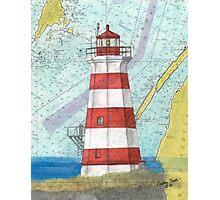 Brier Island Lighthouse NS Canada Nautical Map Cathy Peek Photographic Print