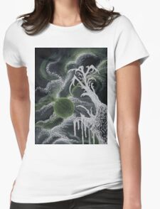 Tree in Green Moonlight Womens Fitted T-Shirt