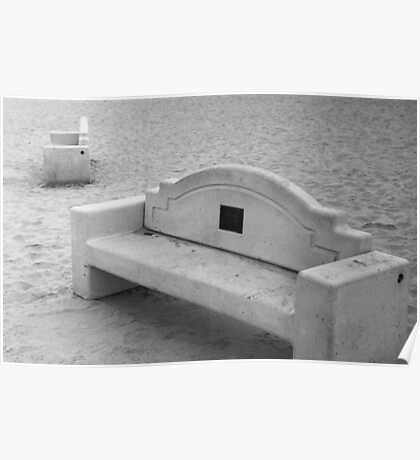 Benches at Dog Beach Poster