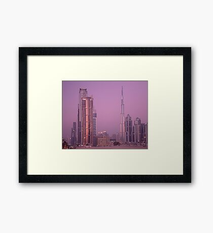 Evening in Dubai from Business Bay Framed Print