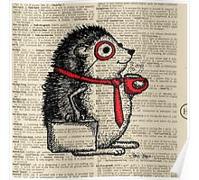 Hedgehog with Monocle Poster