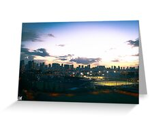 Waikiki Skyline Sunset. Greeting Card
