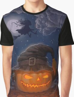 Halloween ominously grinning pumpkin in a witch's hat Graphic T-Shirt