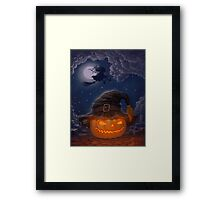 Halloween ominously grinning pumpkin in a witch's hat Framed Print