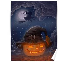 Halloween ominously grinning pumpkin in a witch's hat Poster