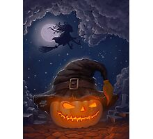 Halloween ominously grinning pumpkin in a witch's hat Photographic Print