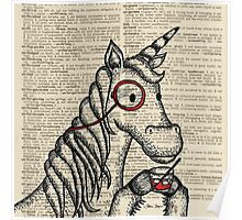 Unicorn with Monocle Poster