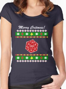 Merry Critmas! Ugly Christmas Sweater Women's Fitted Scoop T-Shirt