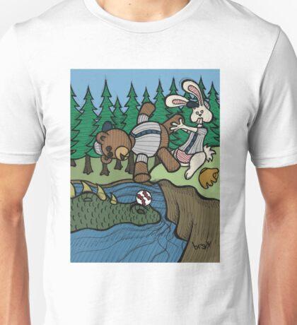 Teddy Bear And Bunny - The Baseball Unisex T-Shirt