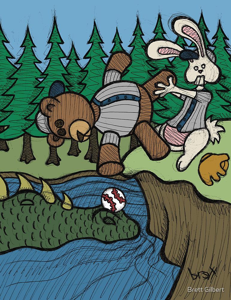 Teddy Bear And Bunny - The Baseball by Brett Gilbert