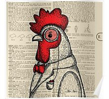 Rooster with Monocle Poster
