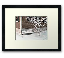 Bench Covered In Snow Framed Print
