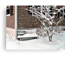 Bench Covered In Snow Canvas Print