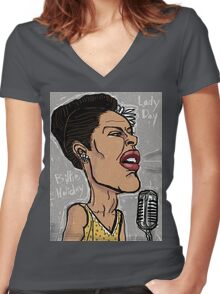 Billie Holiday 'Lady Day' by Shan Stumpf Women's Fitted V-Neck T-Shirt