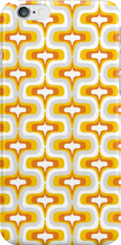 yellow wave retro pattern by demonique