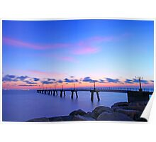 Sunset view on runway lights Poster