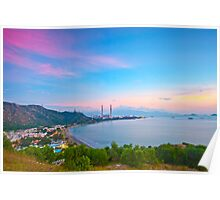 Power station along the seashore at sunset time, Hong Kong. Poster