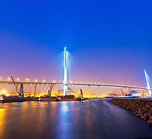 Hong Kong bridge at cargo terminal at night by kawing921