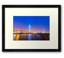 Hong Kong bridge at cargo terminal at night Framed Print