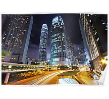 Traffic through downtown of Hong Kong at night Poster