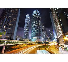 Traffic through downtown of Hong Kong at night Photographic Print