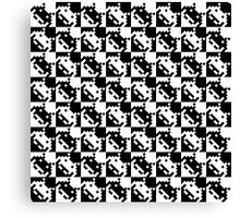 8bit black and white Space Invaders pattern Canvas Print