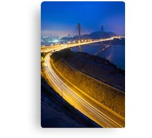 Ting Kau Bridge at night along the highway in Hong Kong Canvas Print