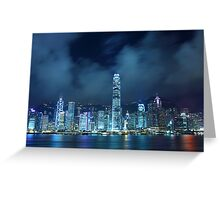 Hong Kong skyline in cyber toned at night Greeting Card