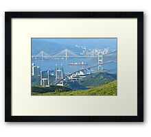 Three famous bridges in Hong Kong at day Framed Print