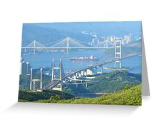 Three famous bridges in Hong Kong at day Greeting Card