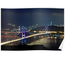 Hong Kong modern flyover bridges at night Poster
