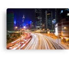 Traffic in Hong Kong downtown at night Canvas Print