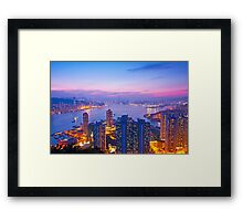 Hong Kong at sunset moment Framed Print