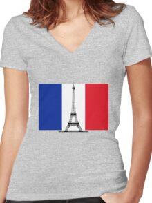 France Flag, Eiffel Tower Women's Fitted V-Neck T-Shirt