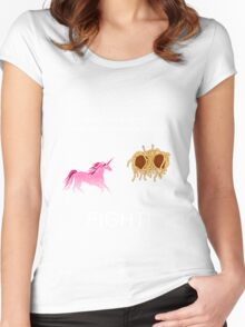 Invisible Pink Unicorn vs Flying Spaghetti Monster (dark) Women's Fitted Scoop T-Shirt